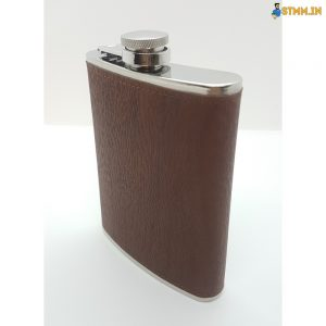 Steel hip flask with leather finish